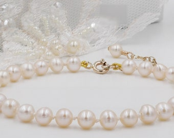 Traditional Pearl bracelet, knotted silk, freshwater pearls, 9ct gold, Sterling Silver, for the classic British bride