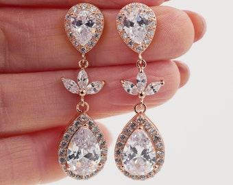 Rose gold, leaf vine crystal earrings, silver with cubic zirconia, pendant teardrop, gold, Custom bridal jewelry, Bridesmaid, bride gift,