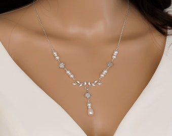 Leaf vine pearl Bridal necklace set, backdrop, With pave crystal inlaid cubic zirconia four leaf clover