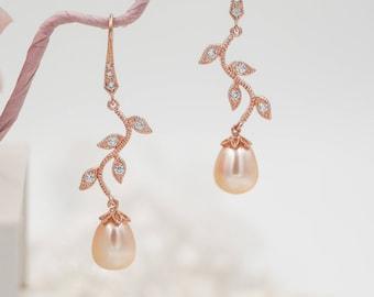Rose gold pearl drop leaf vine earrings, bridal jewellery, freshwater pearl,  bridesmaid or bride