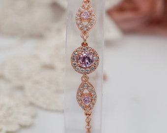 Rose gold or silver crystal bracelet, pink, sapphire, ruby, cubic zirconia, bridal or prom jewellery, bridesmaids bracelets, maid of honour,