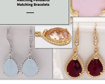 Pastel coloured teardrop crystal drop earrings, custom colours, bridesmaids and proms with sterling silver cubic zirconia ear hooks
