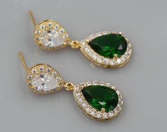 Emerald Green, blue sapphire or ruby red, crystal clear sparkling earrings, with option matching pendant,