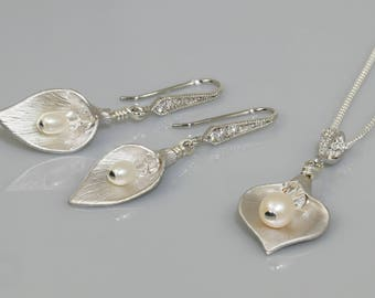 Calla lily necklace, with feshwater pearl drop and Swarovski crystal - optional bridal Matching earrings and bracelet