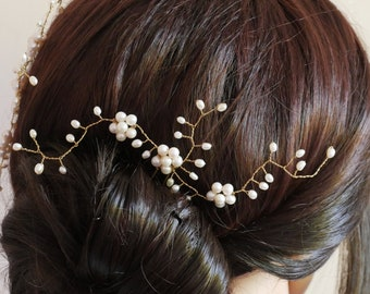 Bridal pearl hair pin, hair vine, with freshwater pearls, leaf and flower vine arms.