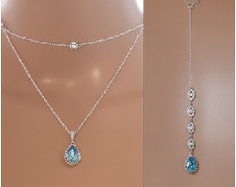 Swarovski Crystal Elements, layered necklace with optional backdrop chain, finished in silver - customised colours