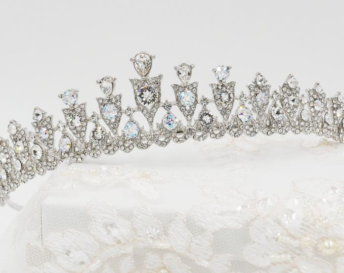 Swarovski crystal tiara, wedding hair band, silver, Swarovski, sweet 16, quinceanera, Bridal, prom, hair accessory, pageant headdress,