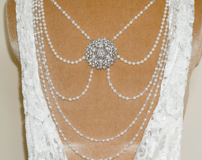 Bridal back necklace, swag, drape for backless dress, Swarovski pearls and crystals, back jewellery for brides, Ivory, cream