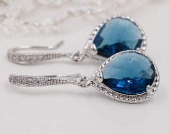 Silver, gold, Navy blue, ruby red or ice blue crystal drop earrings, with matching pendant, gift for her