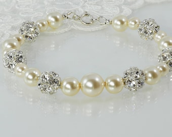 Bride pearl bracelet, cream, pink, crystals,  925 silver, Swarovski Pearls, bracelet, bridal, rhinestone, wedding, mother  bride,