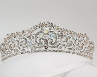 Crystal tiara, with swarovski elements, bridal or prom, handmade to order with a rainbow of colours