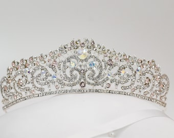 Bridal Crystal tiara, with swarovski elements, Customised to suit in any colour, ideal as a wedding crown, sweet 16, quinceanera,