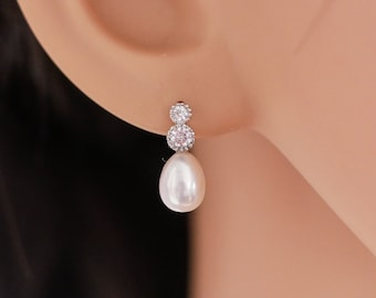 Real freshwater Pearl and cubic zirconia bridal earrings with sterling silver ear post, Also available with peach pearl