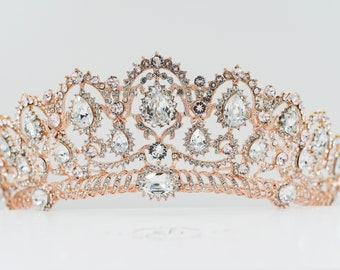 Swarovski Crystal elements Rose gold or silver, Bridal crystal tiara, in silver or rose gold, perfect for fairy princess, pageant queen