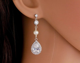 Bridal crystal and pearl drop earrings, cubic zirconia pear drop, rose gold, gold, or silver