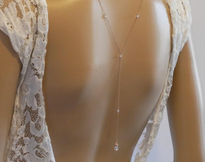 Backdrop lariat y necklace, rose gold, Silver, swarovski crystal, bride, wedding jewelry, Gatsby vintage inspired, pearl Choker, brides,