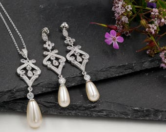 Art Deco earrings, vintage pendant, wedding, Swarovski, Cream,  , bridal earrings, 1920's, wedding, mother  bride,