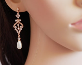 Rose gold, Swarovski pearl drop earrings, vintage style, bridal earrings, with chosen colour pearls