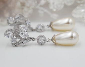 Wedding Crystal earrings, Swarovski pearl, freshwater pearl drop, leaf, flower, cream, pink, lavender, pastel, mother  bride, Prom earrings