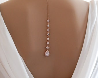 Backdrop necklace, Bride crystal, Rose gold, sterling silver, cubic zirconia, proms or pageants, with matching earrings and bracelet