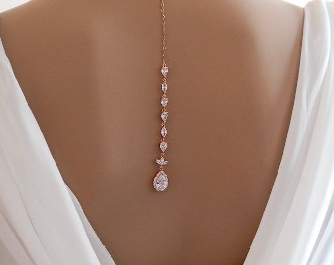 Backdrop necklace, Bride crystal, Rose gold, silver, sterling silver, cubic zirconia, proms or pageants, with matching earrings and bracelet