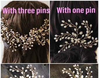 Real freshwater pearl bridal hair pin, finished with gold, rose gold or silver wire,  in a leaf bud style, babies breath.