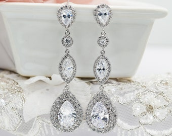Long crystal teardrop earrings, gold or silver, custom bling and sparkly bridal jewellery,