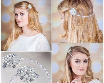 pearl hair chain, forehead brow band,  versatile and ideal as a brided forehead band, vintage flapper, Art Deco themed event ,