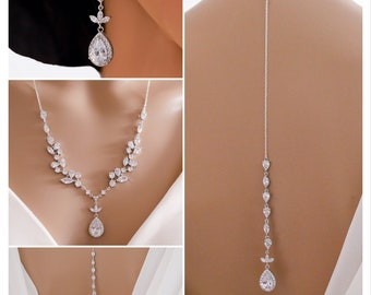 crystal necklace with backdrop chain finished in Rose gold or silver, cubic zirconia, bridal jewellery set