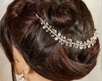 Crystal hair vine, in rose gold or silver, with Swarovski Crystal, ideal as tiara, forehead band, bridal headband,