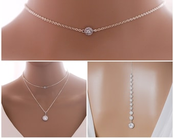 Sparkling Backdrop chain choker necklace ideal bridal jewellery, backless dress, finished in silver or rose gold