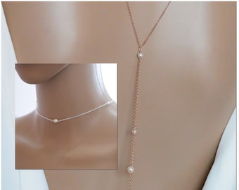 Backdrop necklace, Backlace, choker and double lariat drop, Swarovski crystal or pearls, bridal jewellery