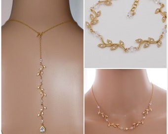 Gold, silver, Leaf vine necklace, backdrop, earrings with Swarovski pearls, bridal necklace,