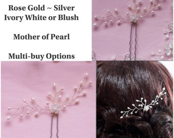 Bridal hair pin with mother of pearl flower, Freshwater Pearls, Swarovski pearls, vine sprays finished in silver or rose gold