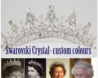 custom colours, crystal tiara made with Swarovski Crystal Elements finished in silver, gold or rose gold