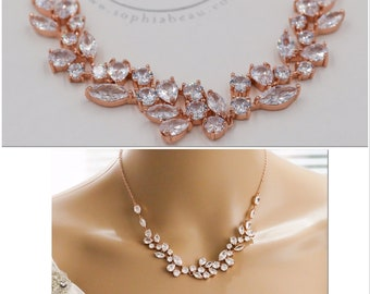 Silver, gold, rose gold Bridal crystal necklace, with matching backdrop chain,earrings and bracelet and backdrop chain available