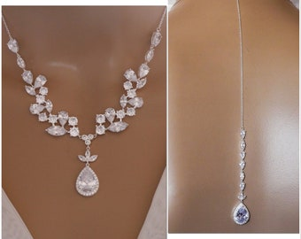 Crystal necklace with Leaf backdrop necklace, Bride crystal, cubic zirconia, proms or pageants, with matching earrings and bracelet