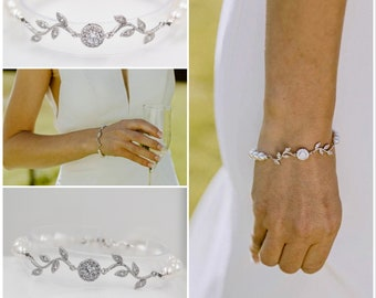 Bridal crystal Leaf vine bracelet, with Swarovski pearls or freshwater pearls, Finished in silver or rose gold