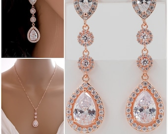 crystal earrings, pendant set, bracelet, with halos of cubic zirconia, Finished in gold, silver or rose go,d