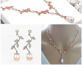 Leaf vine necklace, pearl or crystal drop , backdrop chain,  earrings with Swarovski pearls, bridal necklace,