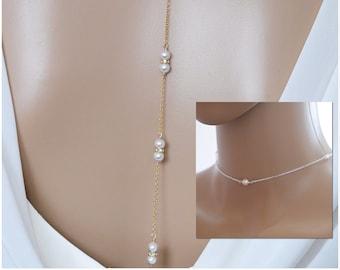 Custom colours, swarovski pearl backdrop necklace chain, backless dress jewellery, with Choker
