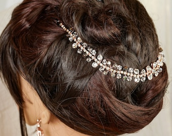 Swarovski crystal and preciosa bridal hair chain, band, hair vine, comb, finished rose gold or silver,