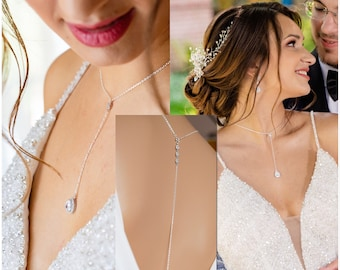 Crystal lariat drop necklace with detachable backdrop chain. Finished in silver, gold or rose gold