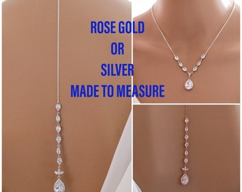 Backdrop necklace, Bride crystal, Rose gold or silver, proms or pageants, with matching earrings and bracelet