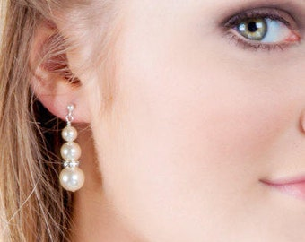 Pearl drop earrings, Swarovski Crystal, any colour. Cream, prom, weddings, brides, mother  bride,