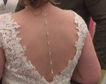 backdrop necklace, Swarovski crystal or pearl,  sterling Silver, bridal back chain, bride dress jewelry, great Gatsby, Choker for brides,