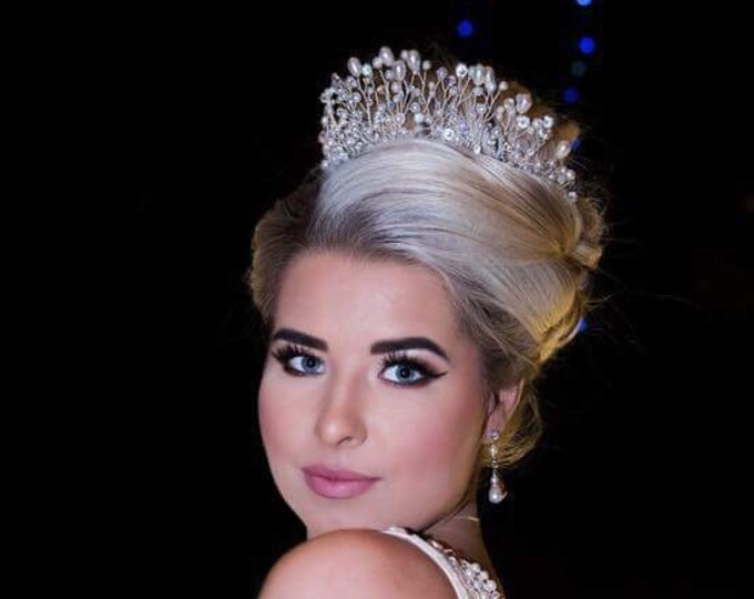 Pearl tiara, crystal bridal wedding headpiece Swarovski, princess handmade, crystal, diamante, rhinestone, Ivory, cream, white pearl tiara