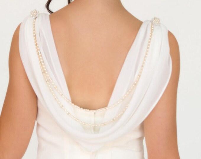 back chain, shoulder jewellery, swag,  Swarovski, dress drape, back jewellery for brides backless dress, Ivory, cream, rose, pink, vintage