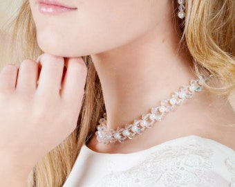 Pearl and crystal choker necklace, Customised to your colour choice with optional backdrop chain,  Swarovski pearls,