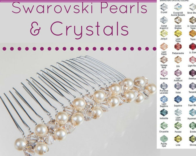 Bridal Pearl and crystal hair comb, Swarovski, free shipping, blush, cream, blue,  bride, bridesmaids, proms or looks great on the beach.